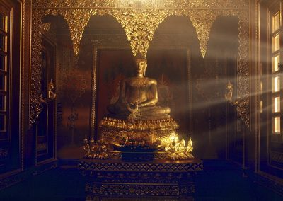 A Sukhothai Buddha image inside a private chapel at the Prasat Museum, Bangkok, Thailand, Southeast Asia, Asia